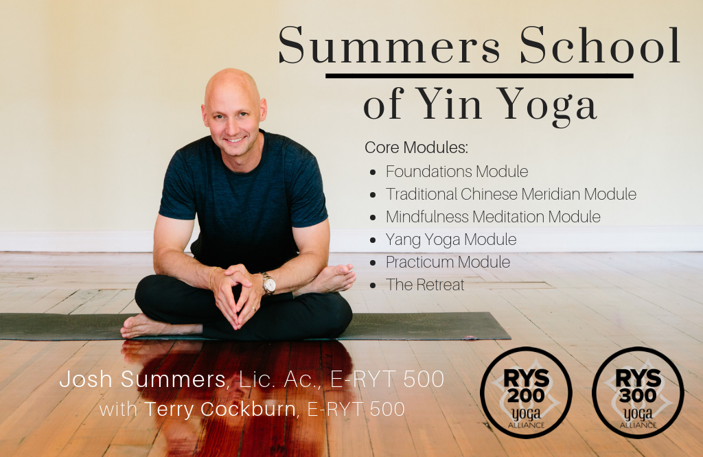 The Summers School of Yin Yoga, led by Josh Summers, provides intensive training and certification in Yin Yoga and Meditation. Students can earn their certificate at either the 200-hr or 300-hr level.